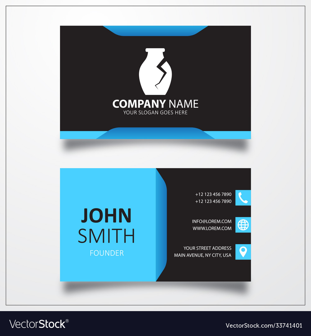 Archaeological vase icon business card template