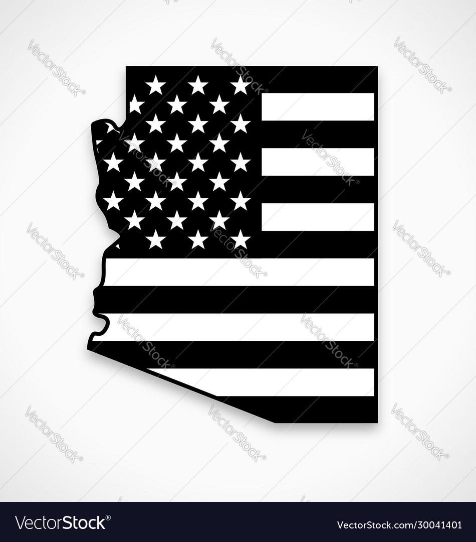Arizona map with usa flag black and white