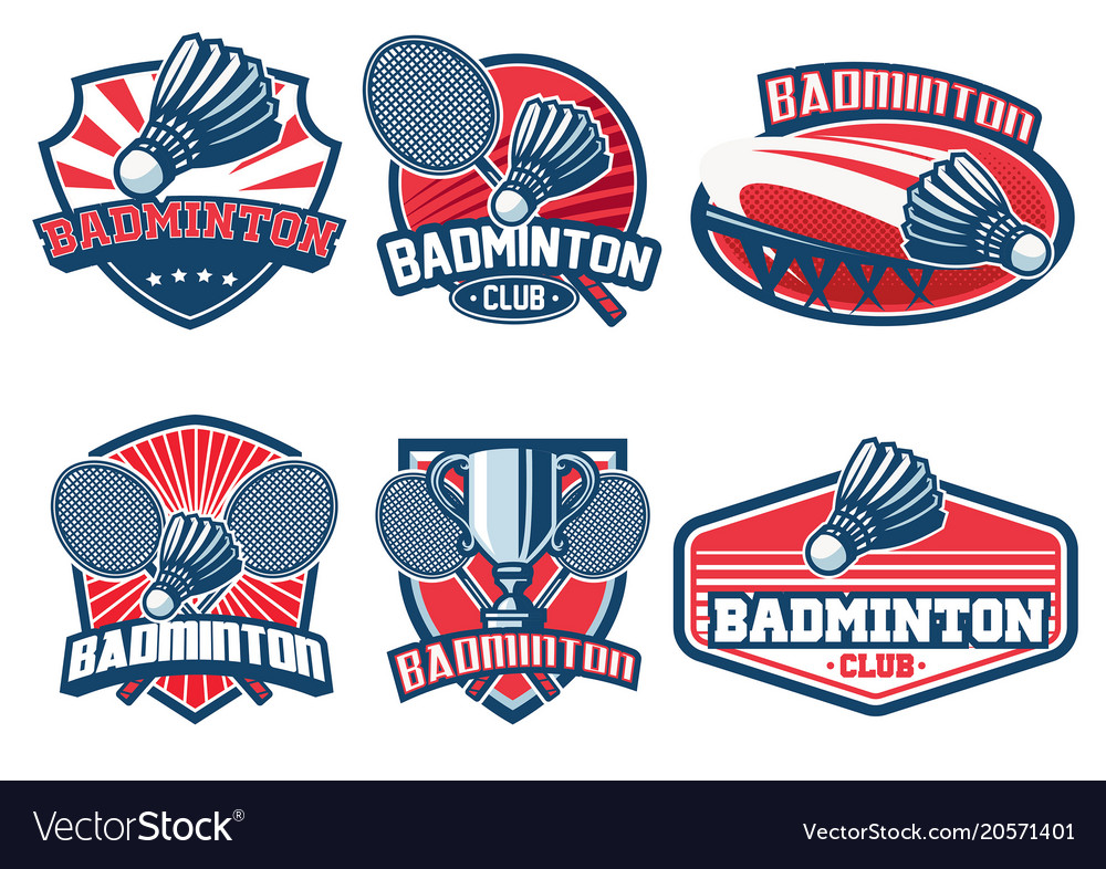 Badminton badge design set