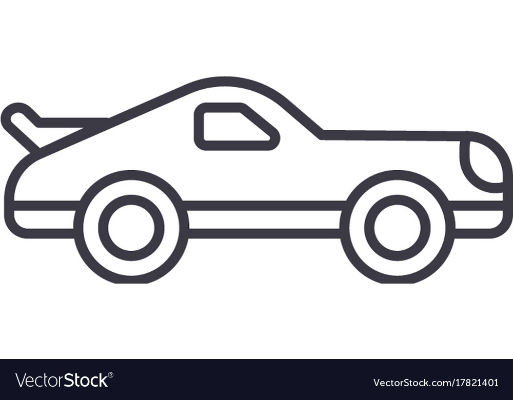 Car racing line icon sign on