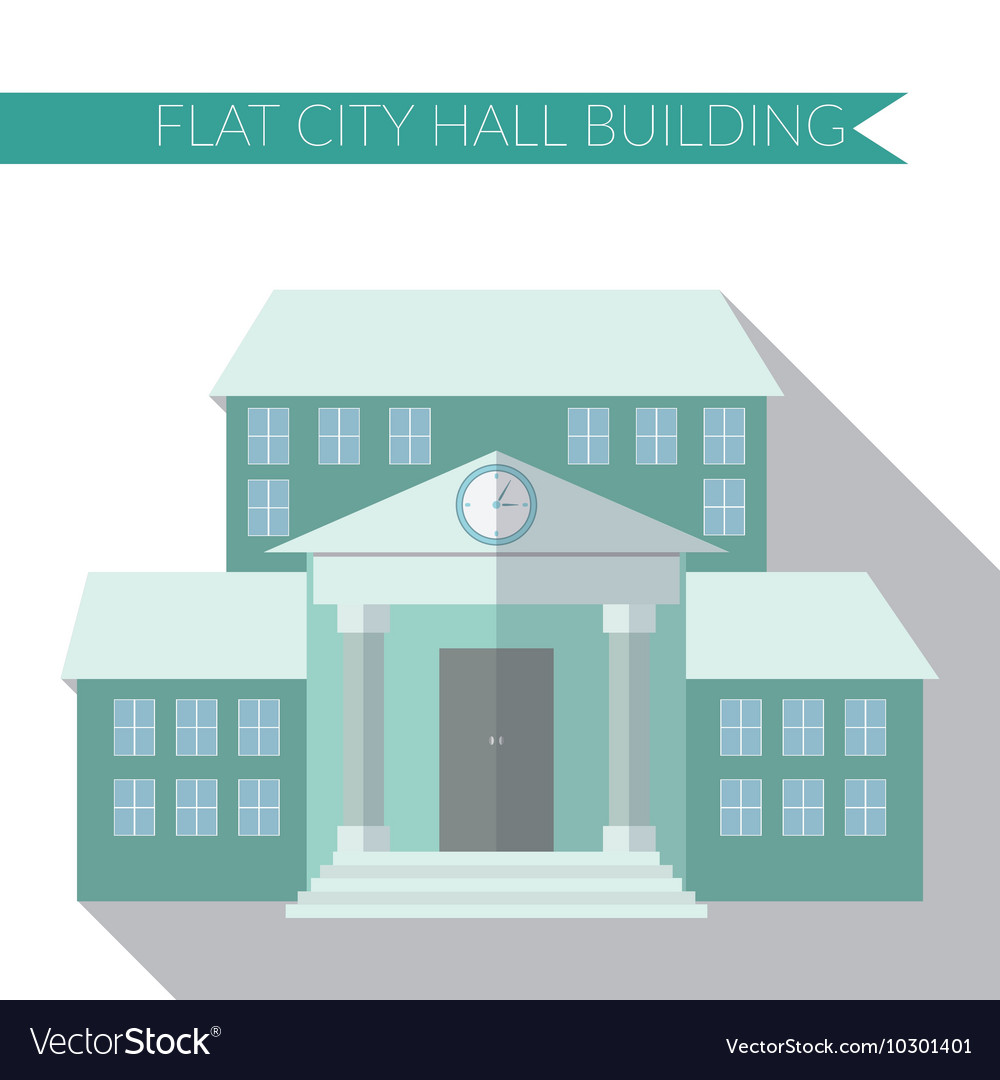 Flat design modern of city hall building icon with