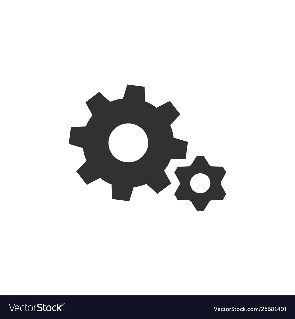 Gear wheel cogweel big and small icon isolated