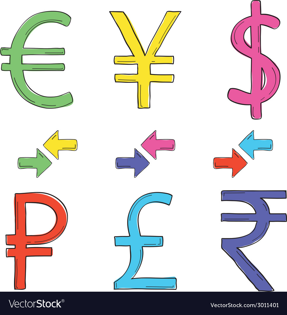 Hand drawing set of currency symbols