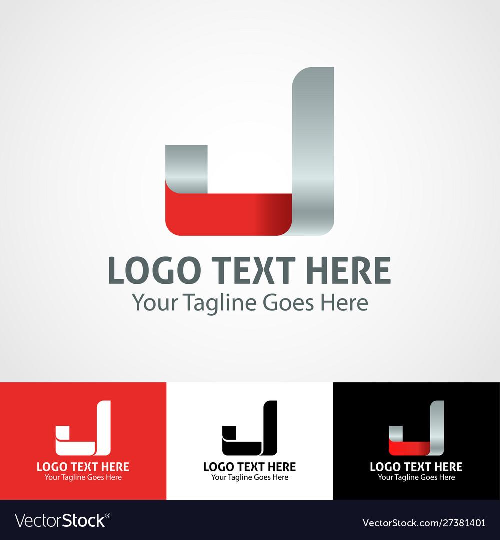 Hi-tech trendy initial icon logo j