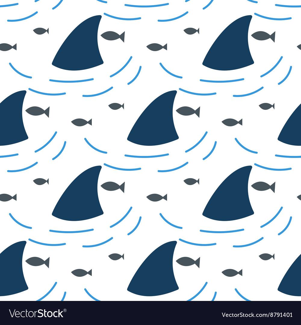 Shark fin in water waves seamless pattern