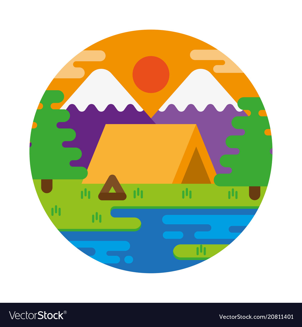 Sunset camping vector image