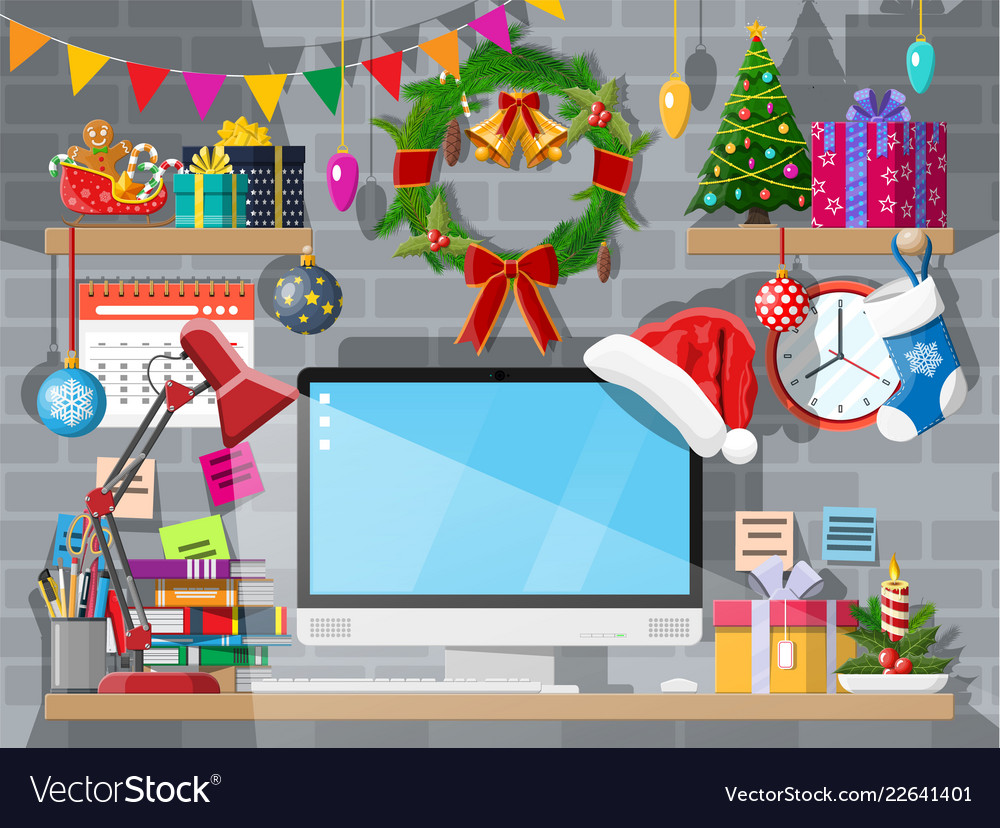 Year office desk workspace interior vector