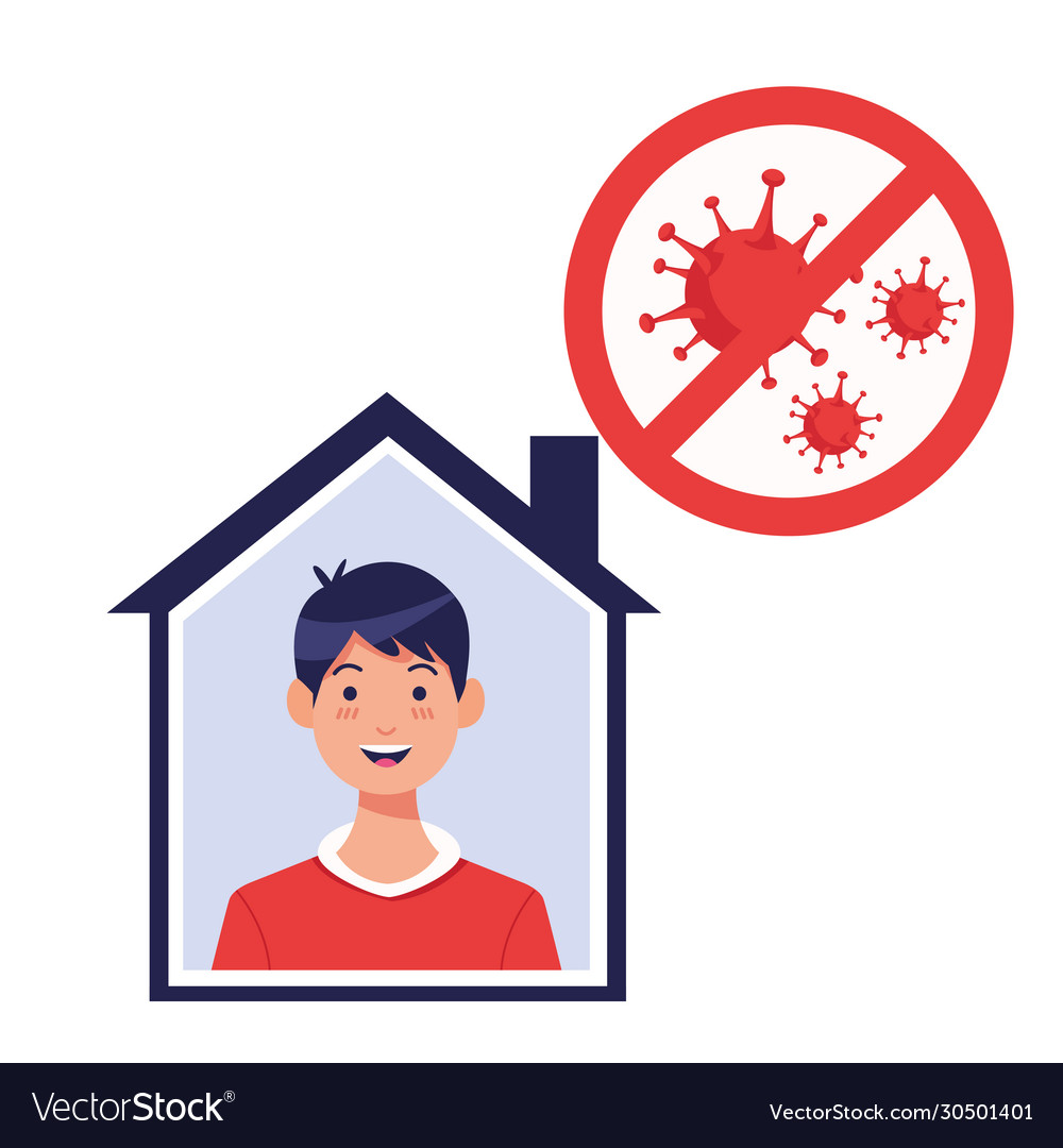 Young man inside house with covid19 particles