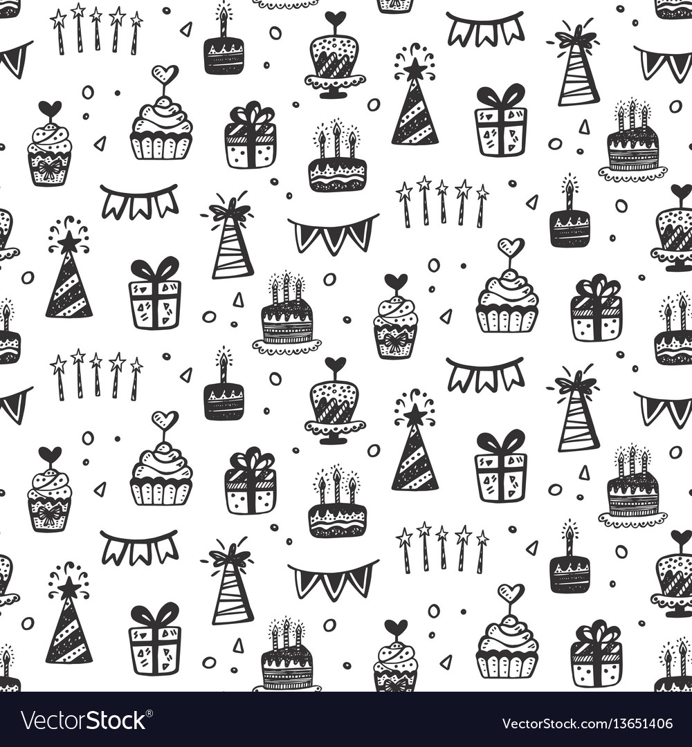 Birthday party seamless patterns