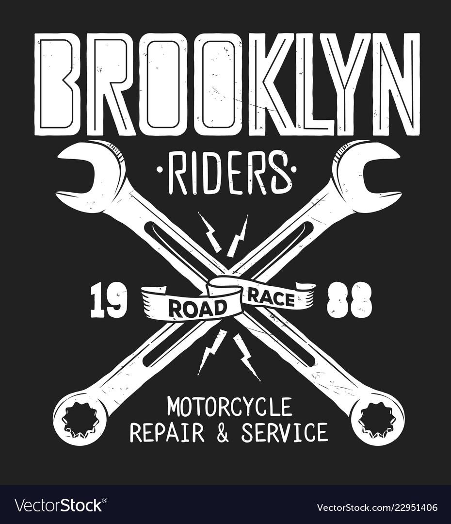 e0d0848a7 Brooklyn repair service vintage shirt print Vector Image
