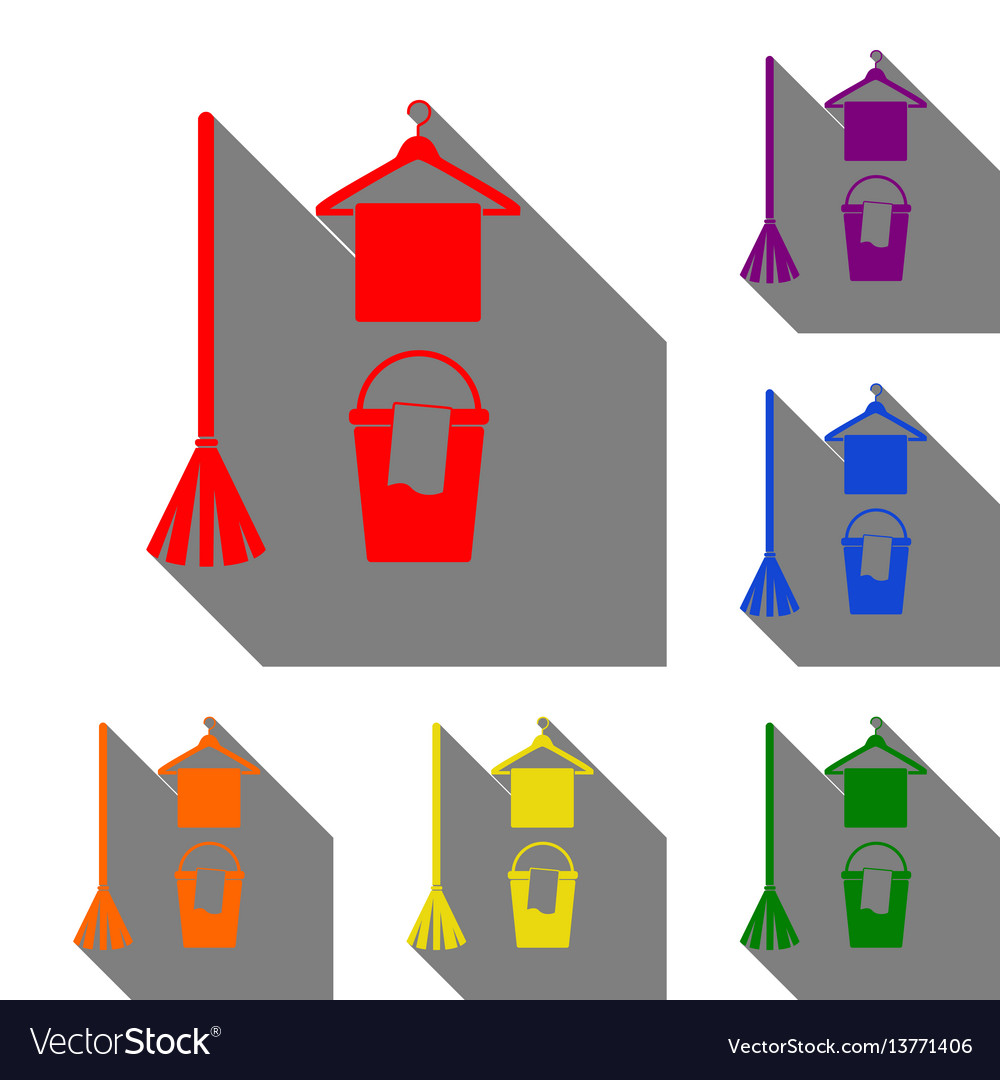 Broom bucket and hanger sign set of red orange