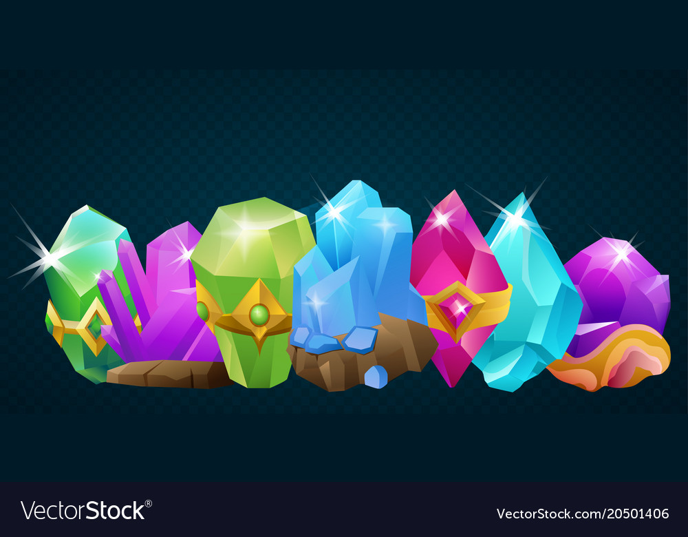 Collection of cartoon stone crystals and magic