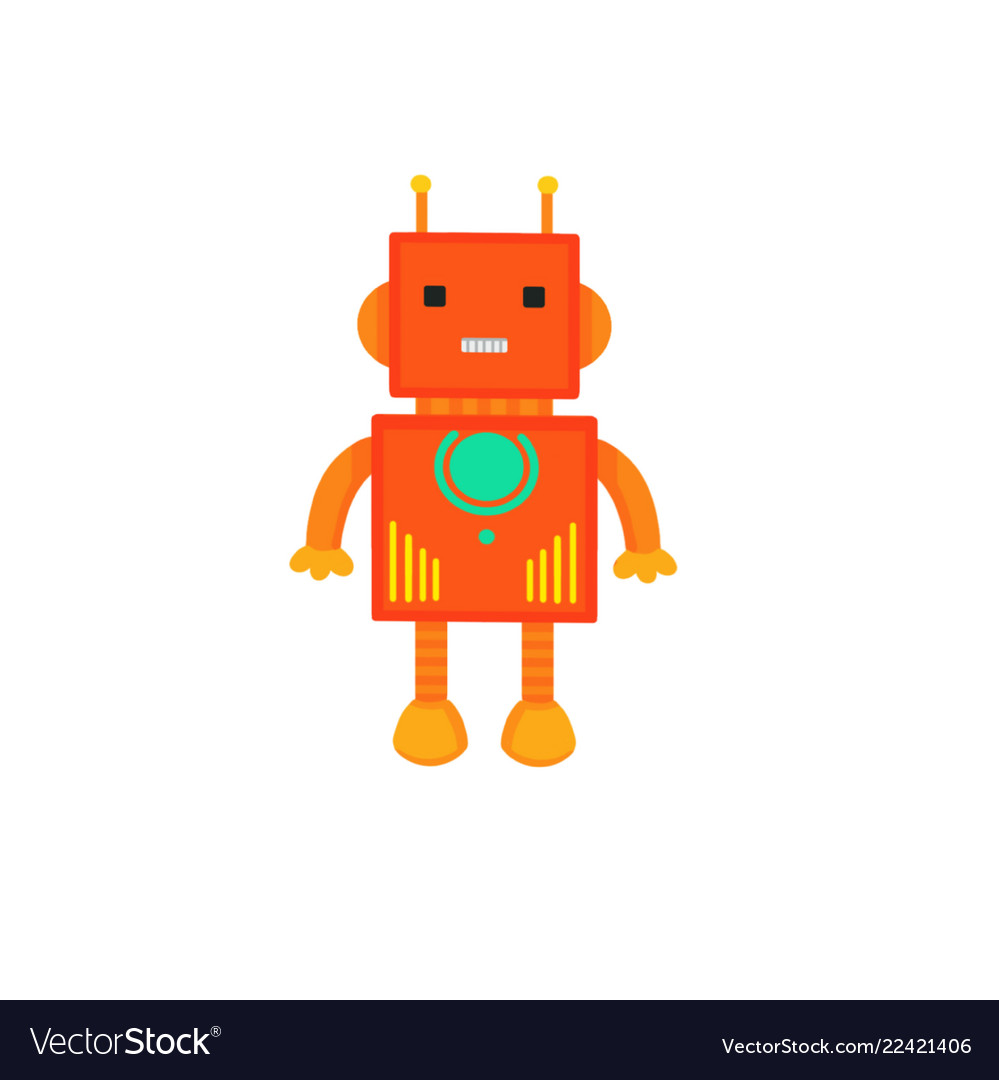 Colored robot in cartoon style isolated