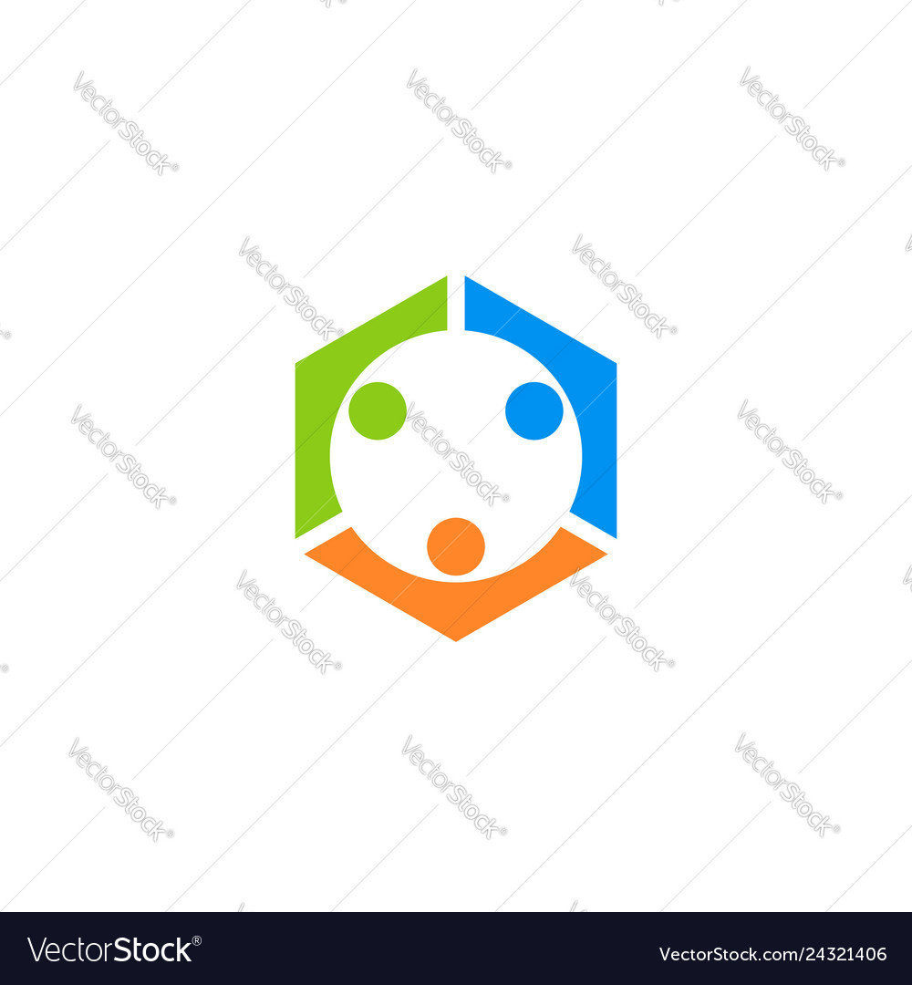 Connection teamwork logo symbol icon design