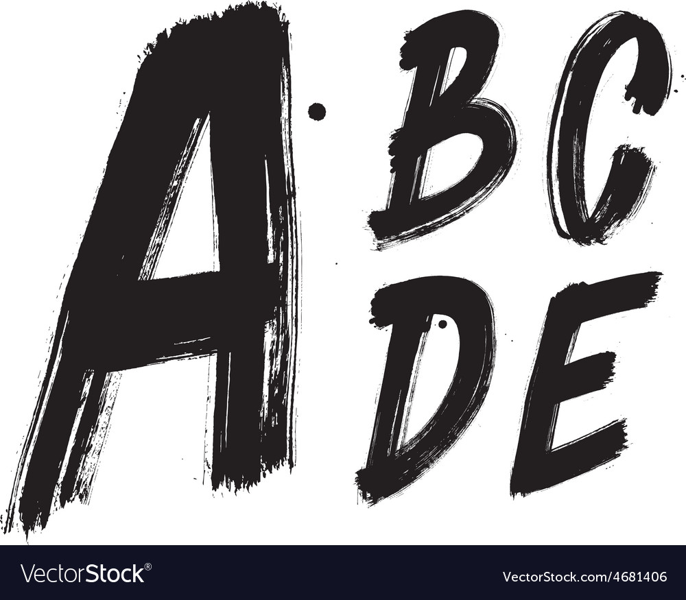 Detailed hand written brush font type alphabet