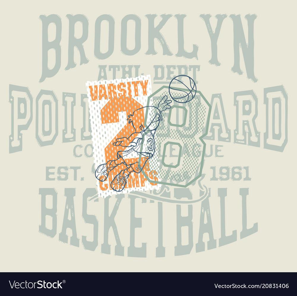 Fun cartoon basketball kids team