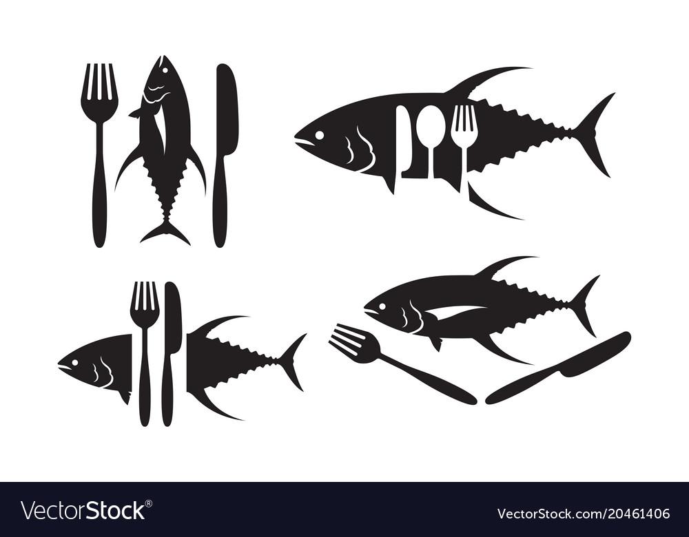 Graphic tuna and silverware