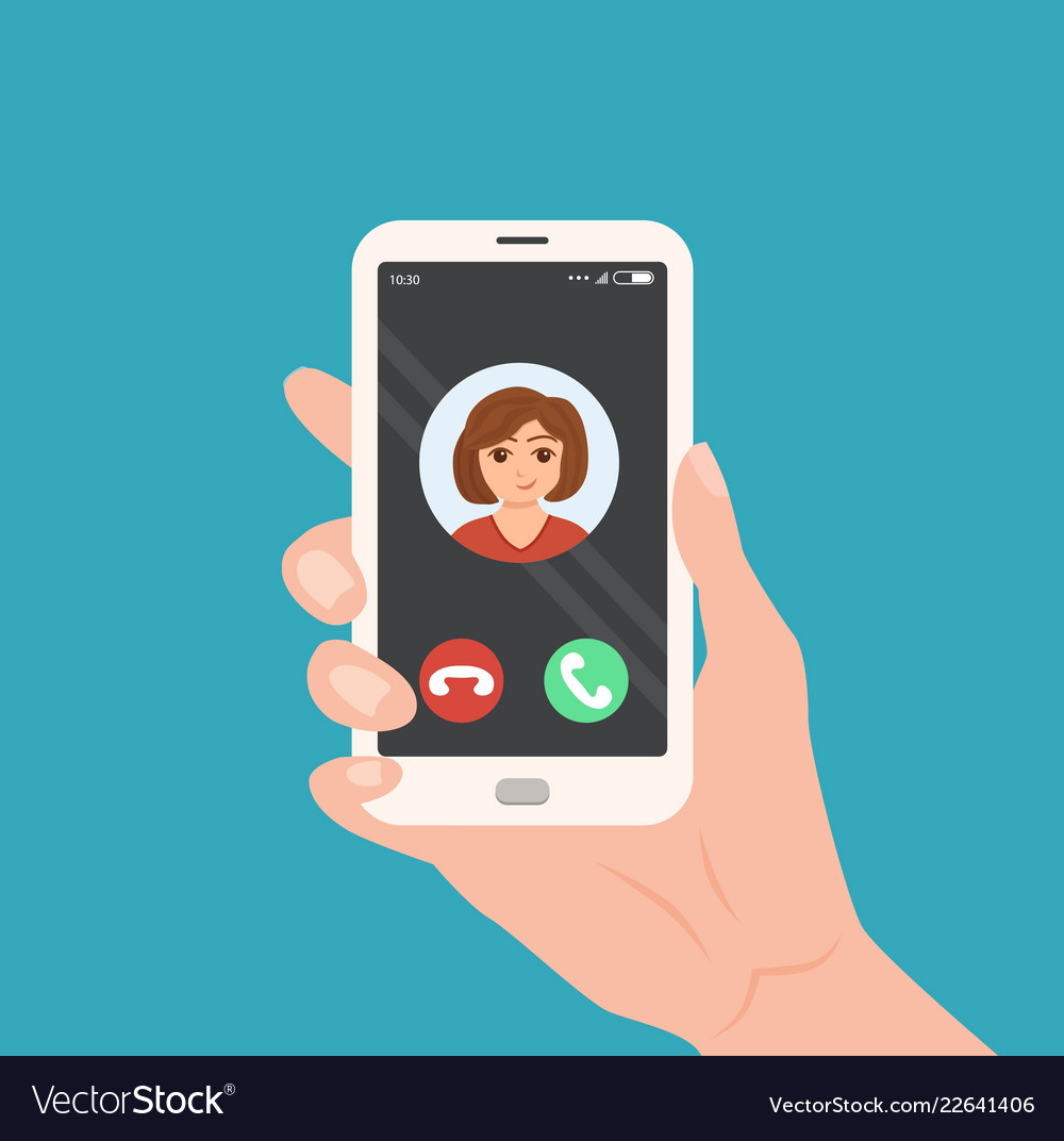 Hand holding smartphone with incoming call on the