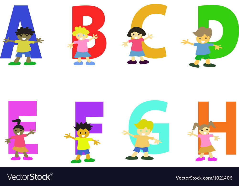 Happy kids cartoon alphabet collection