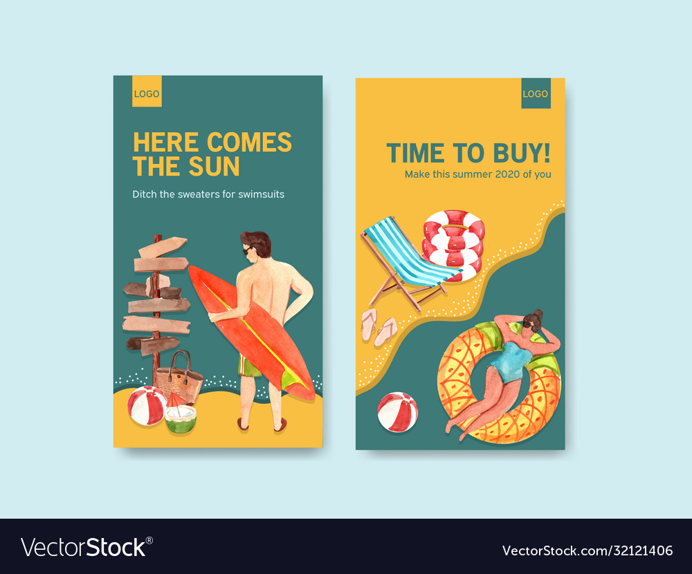 Instagram summer template design for vacation and