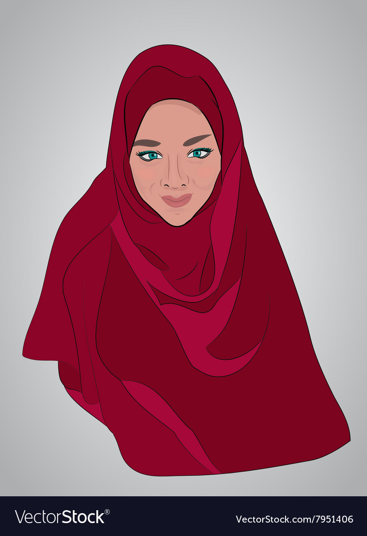 Muslim girl dressed in colored hijab
