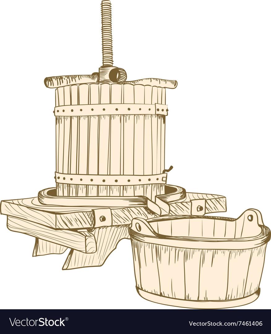 Old wine press vector image