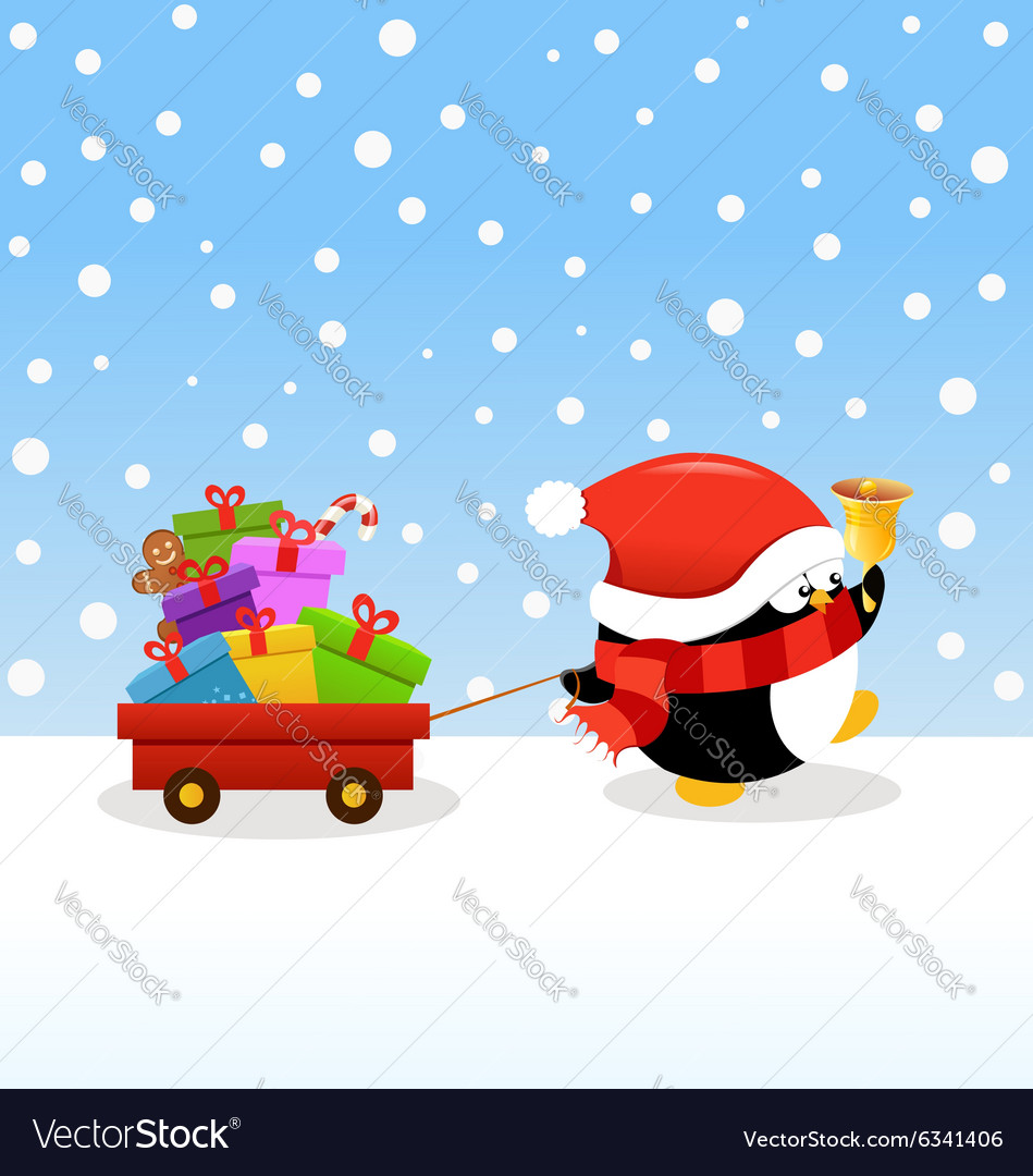Penguin Delivering Christmas Gifts Royalty Free Vector Image