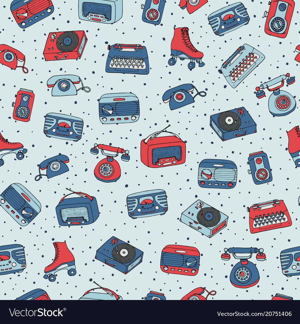 Retro seamless pattern with antique tech radio
