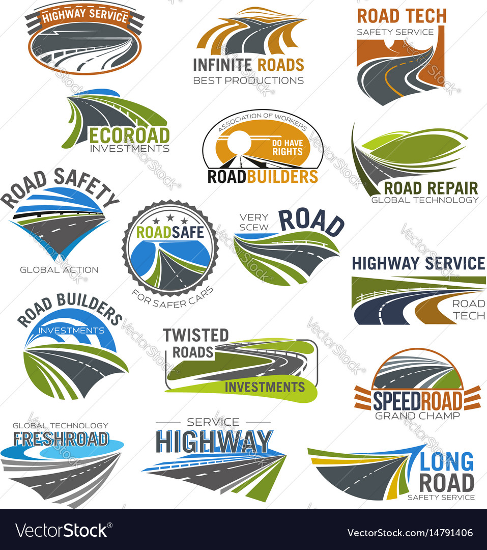 Road highway and freeway isolated symbol set