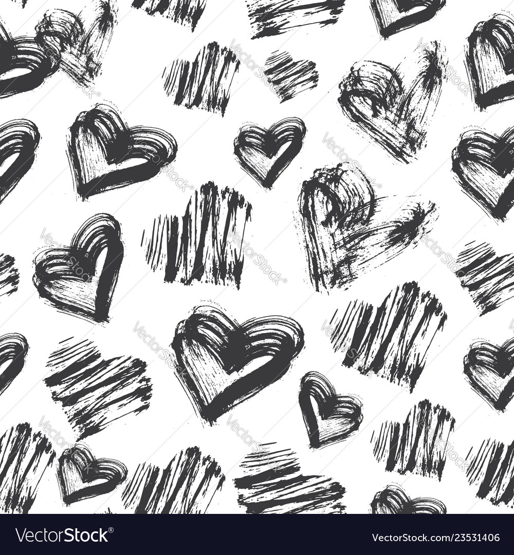 Seamless heart pattern black and white ink pattern