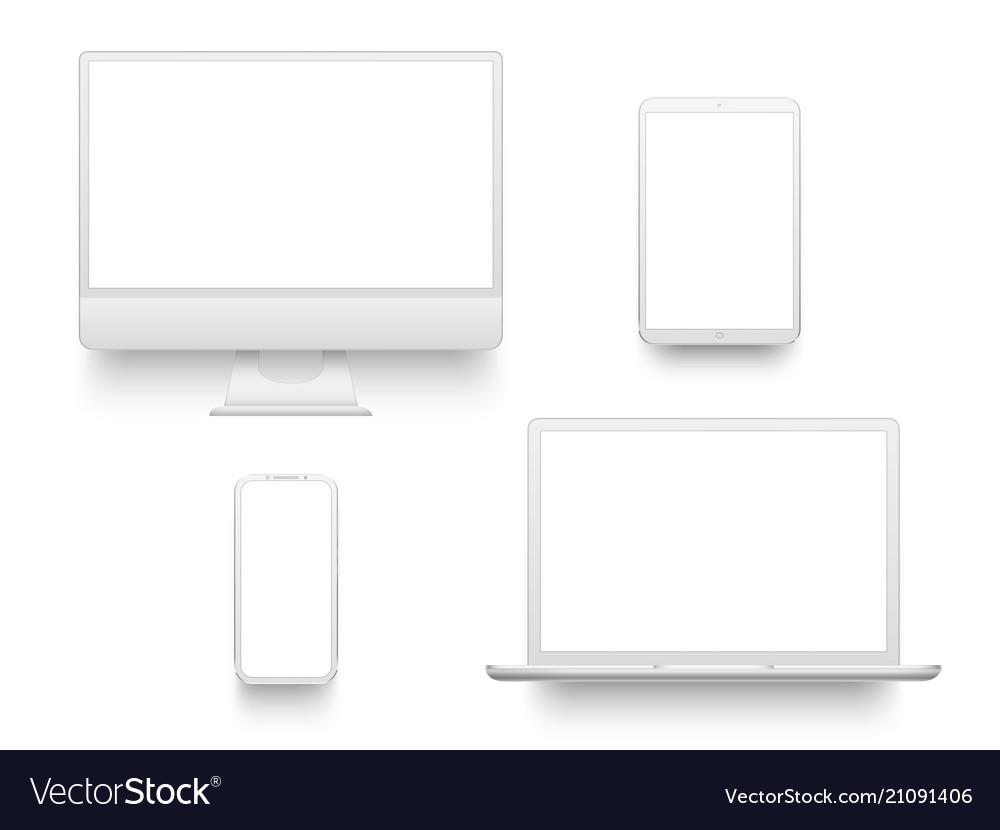 White desktop computer display screen smartphone
