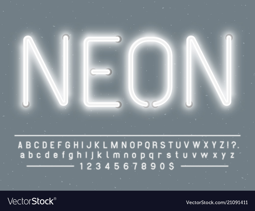 Bright glowing white neon sign characters