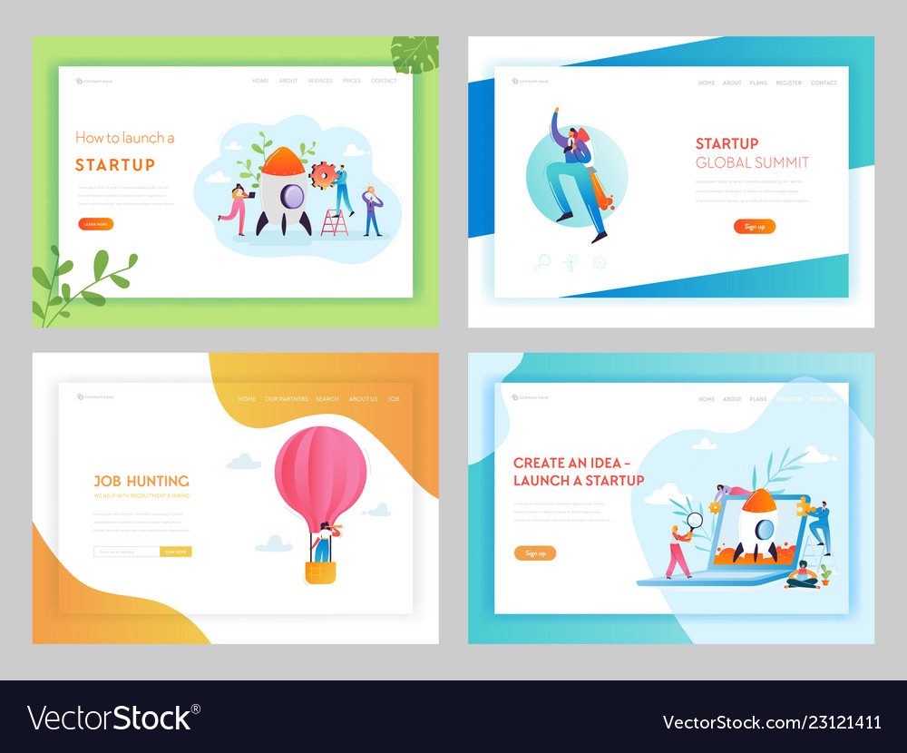 Business startup creative idea landing page