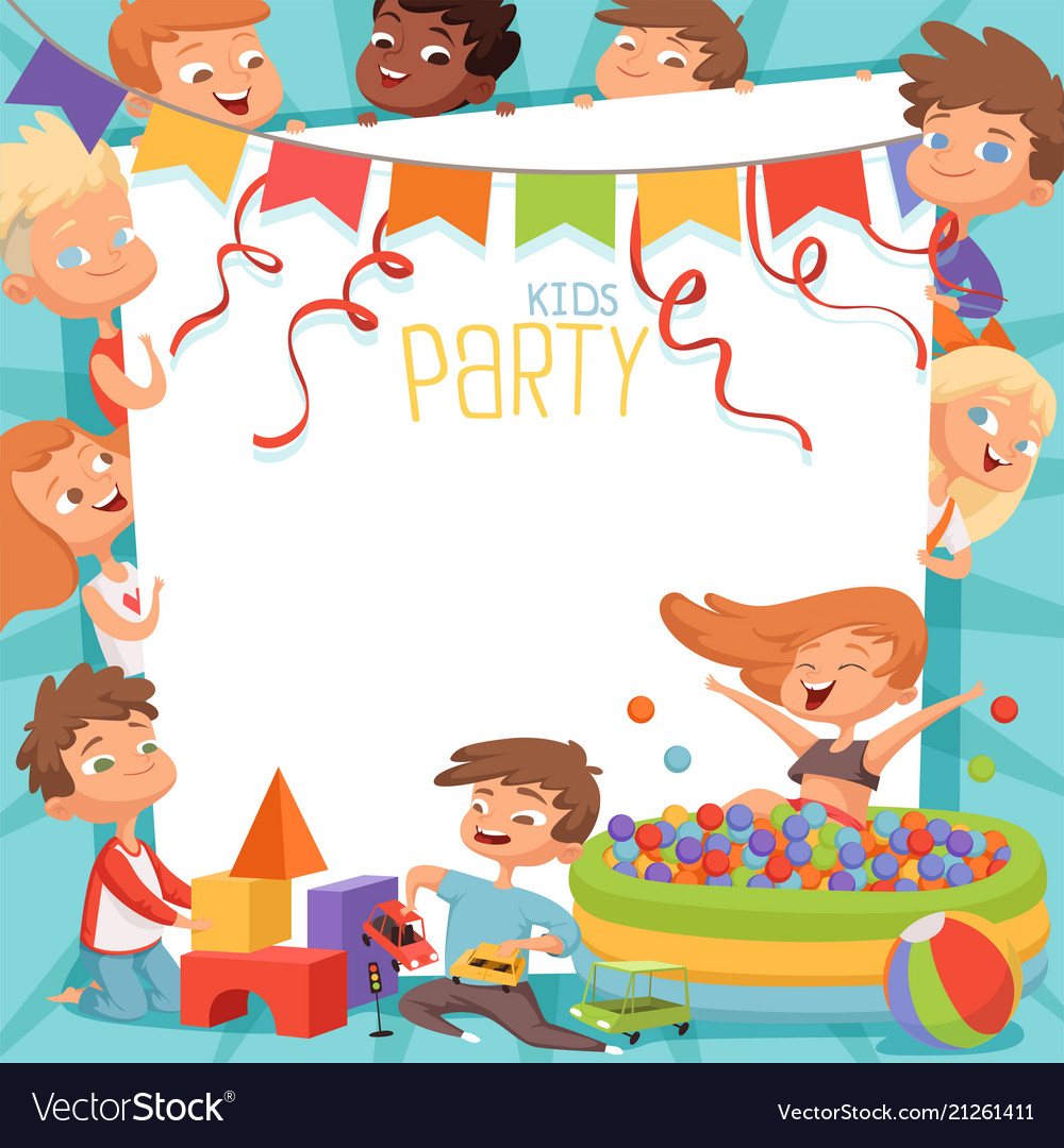 Design Template Of Kids Party Invitation Vector Image