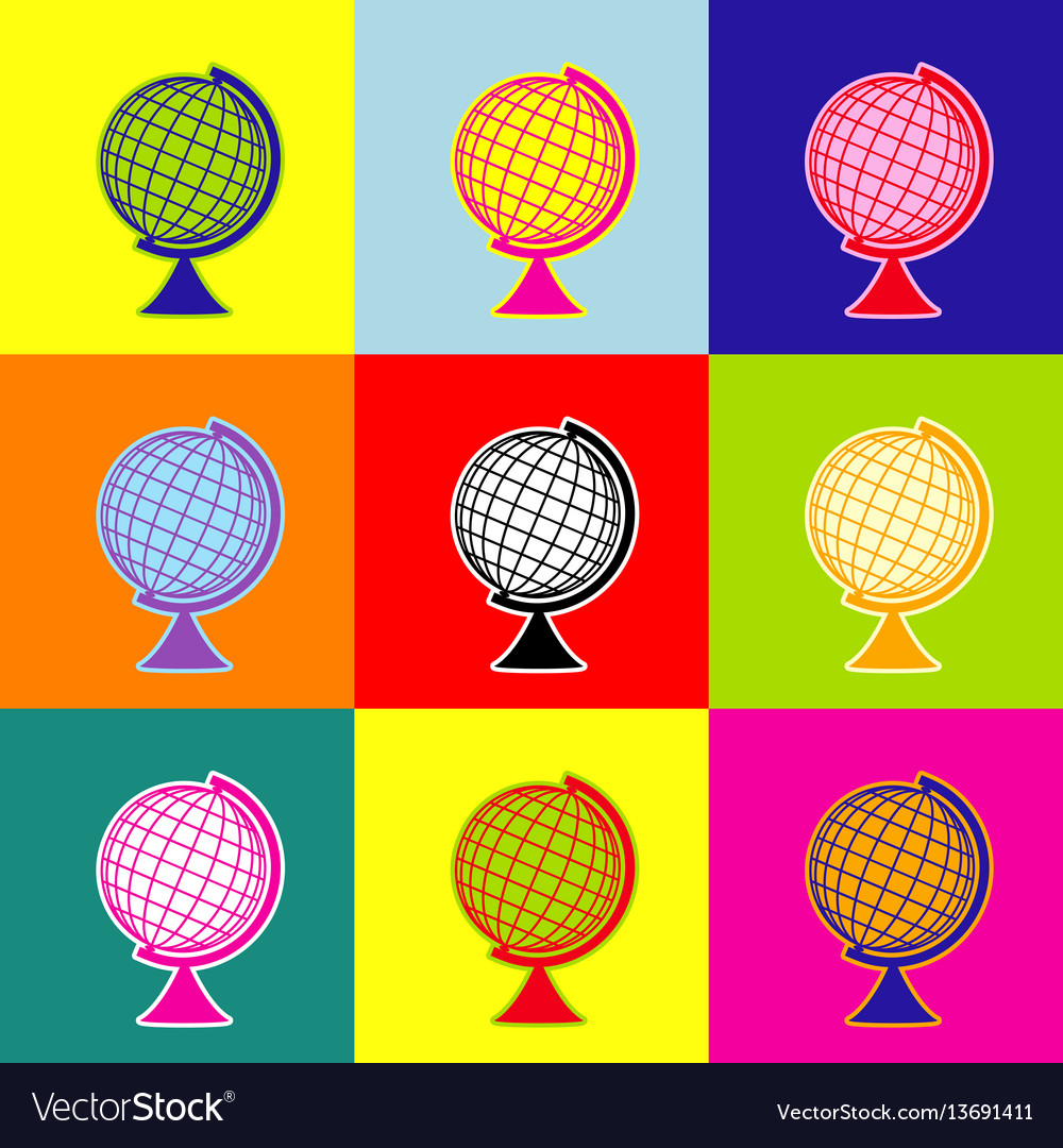 Earth globe sign pop-art style colorful