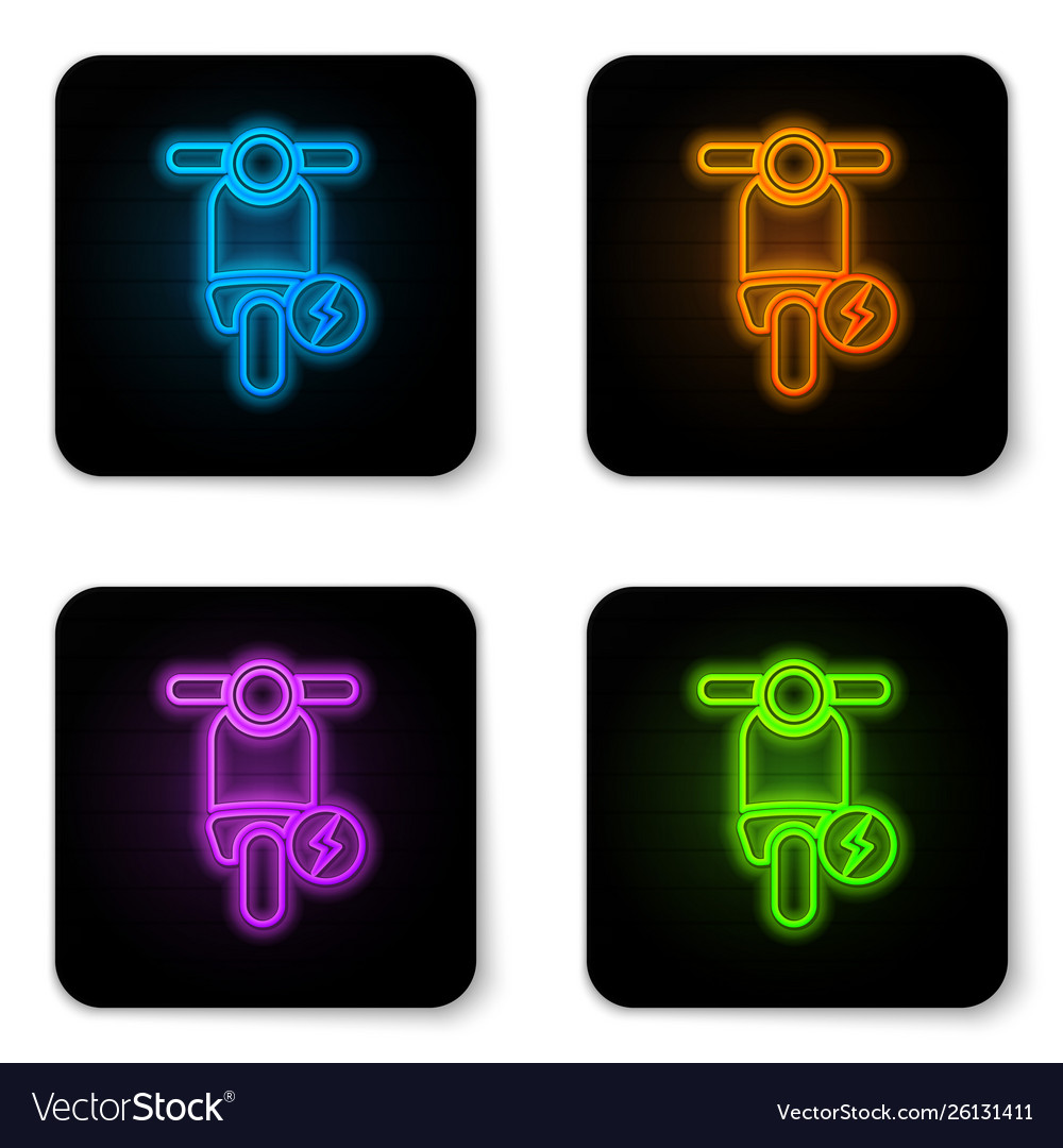 Glowing neon electric scooter icon isolated on
