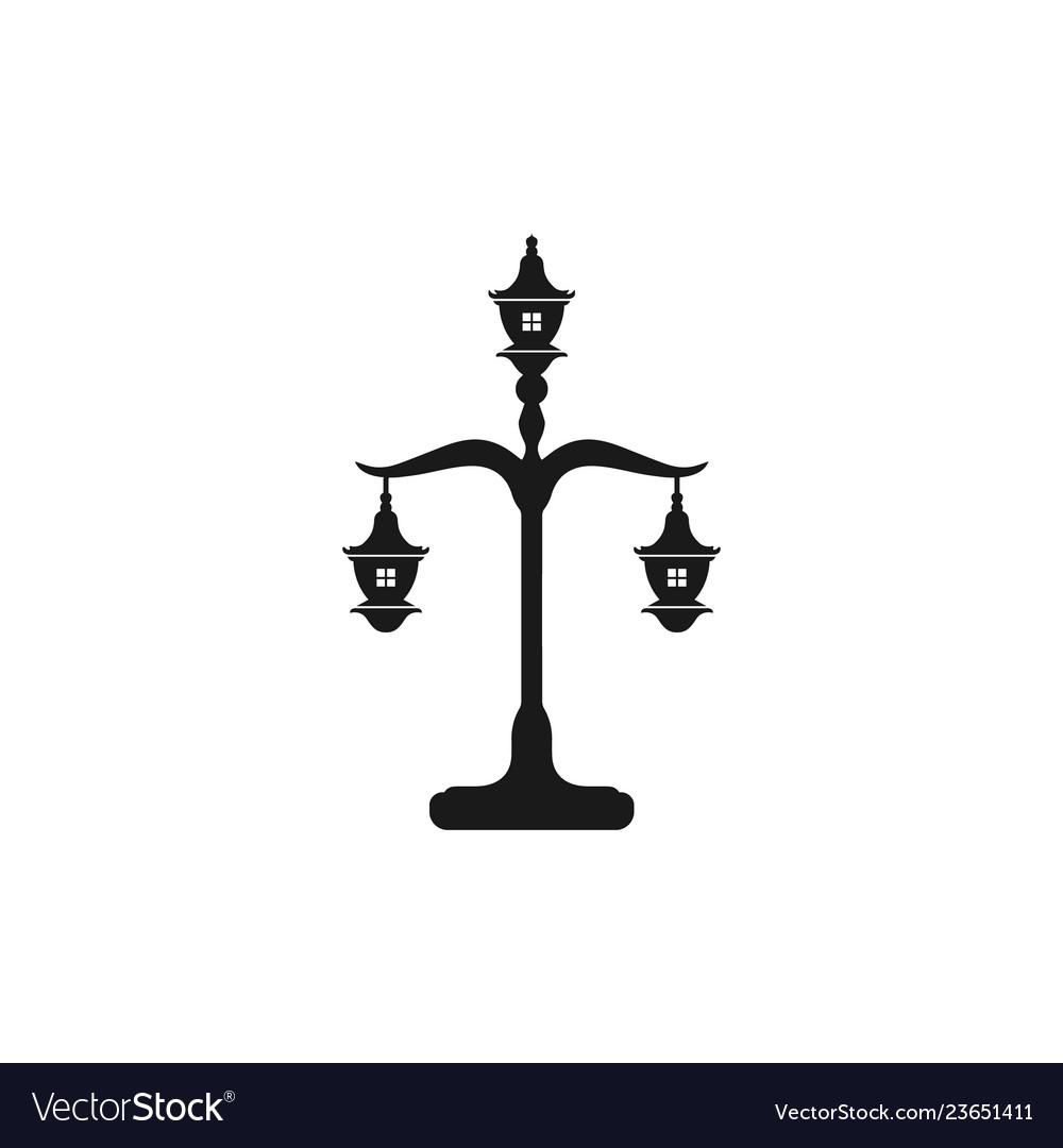 Lantern lamp logo design inspiration isolated in
