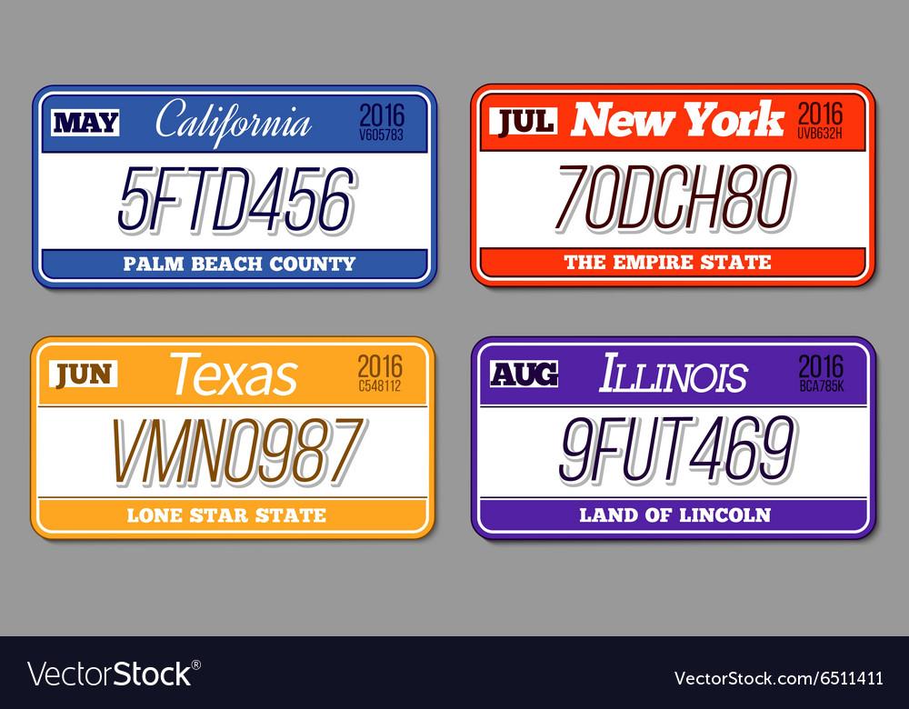 License car number plates set California