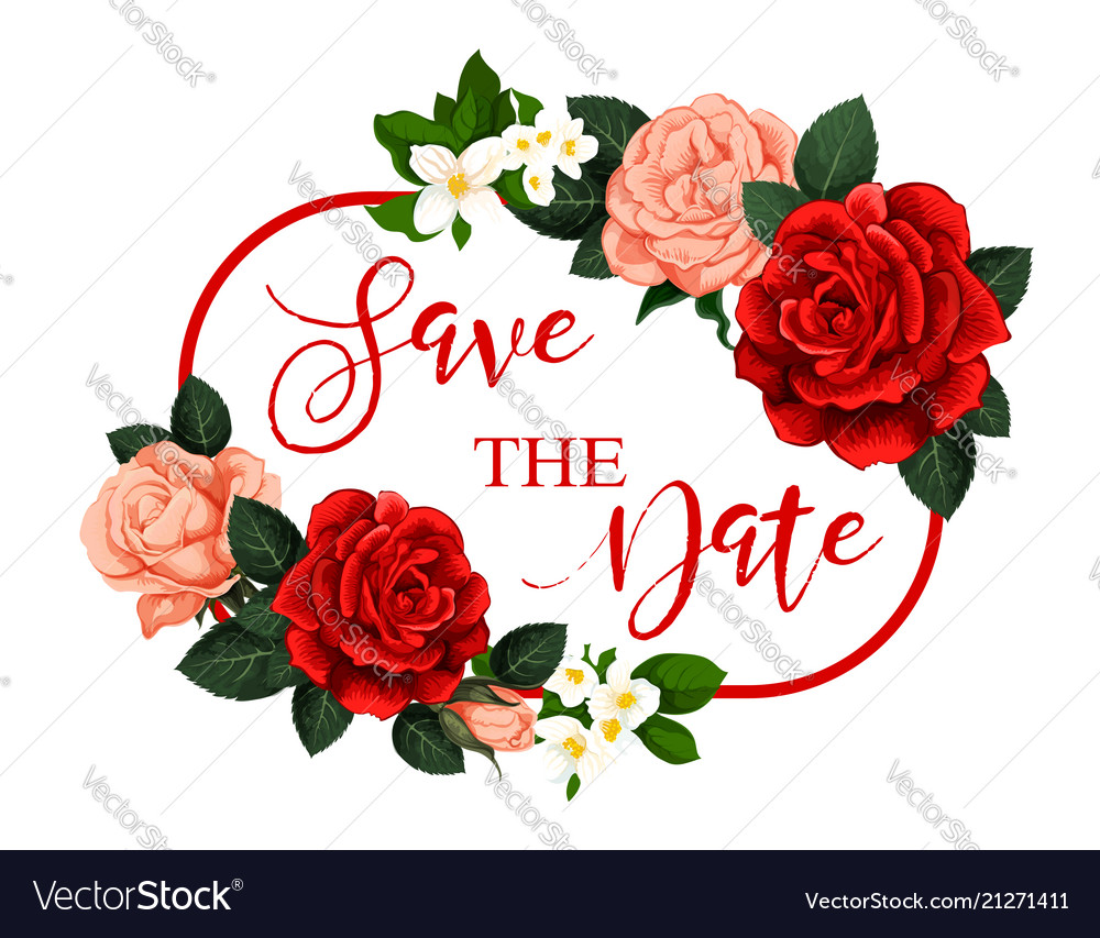 Save On Wedding Flowers: Save The Date Flower Frame For Wedding Invitation Vector Image