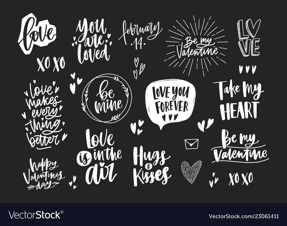 Set of elegant valentine s day letterings