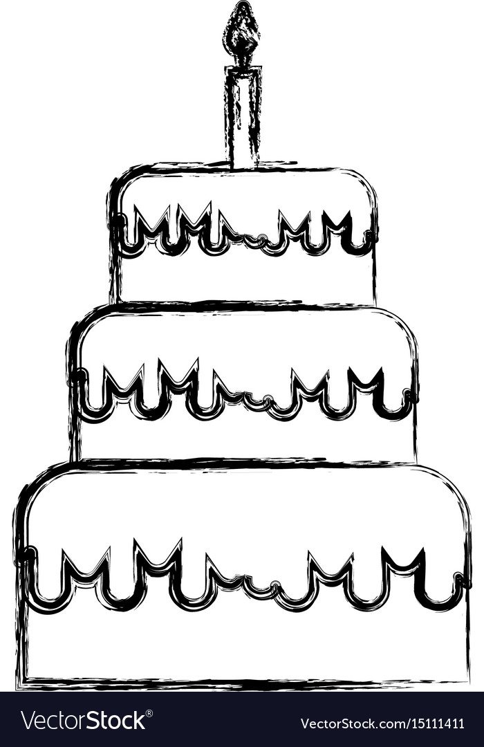 Sketch Draw Birthday Cake Cartoon Royalty Free Vector Image