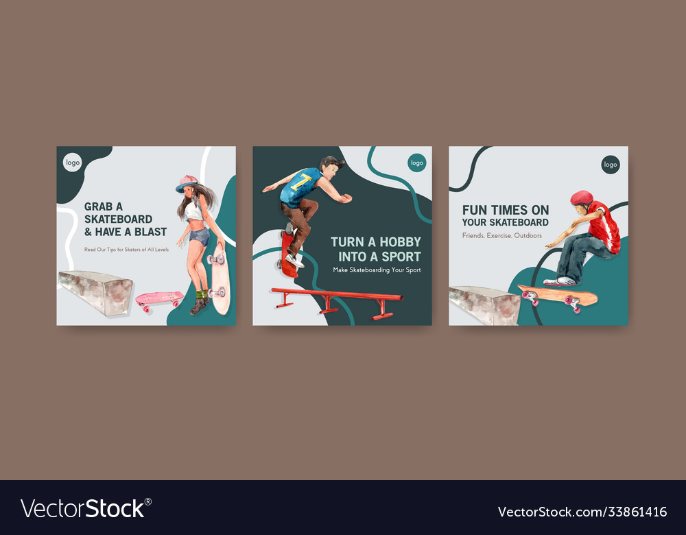Ads template with skateboard design concept