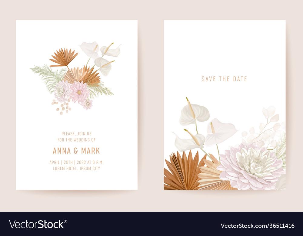 Botanical dalia wedding invitation card template
