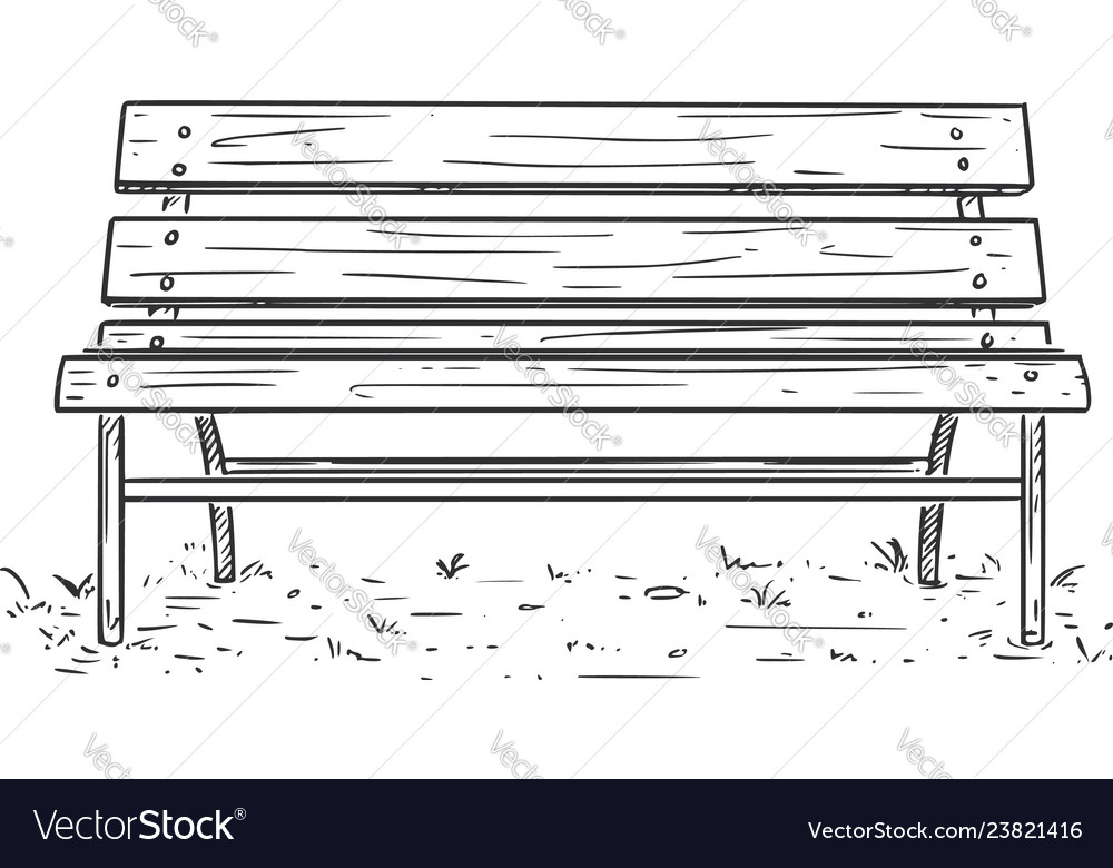 Superb Cartoon Drawing Of Empty Park Bench Or Seat Machost Co Dining Chair Design Ideas Machostcouk