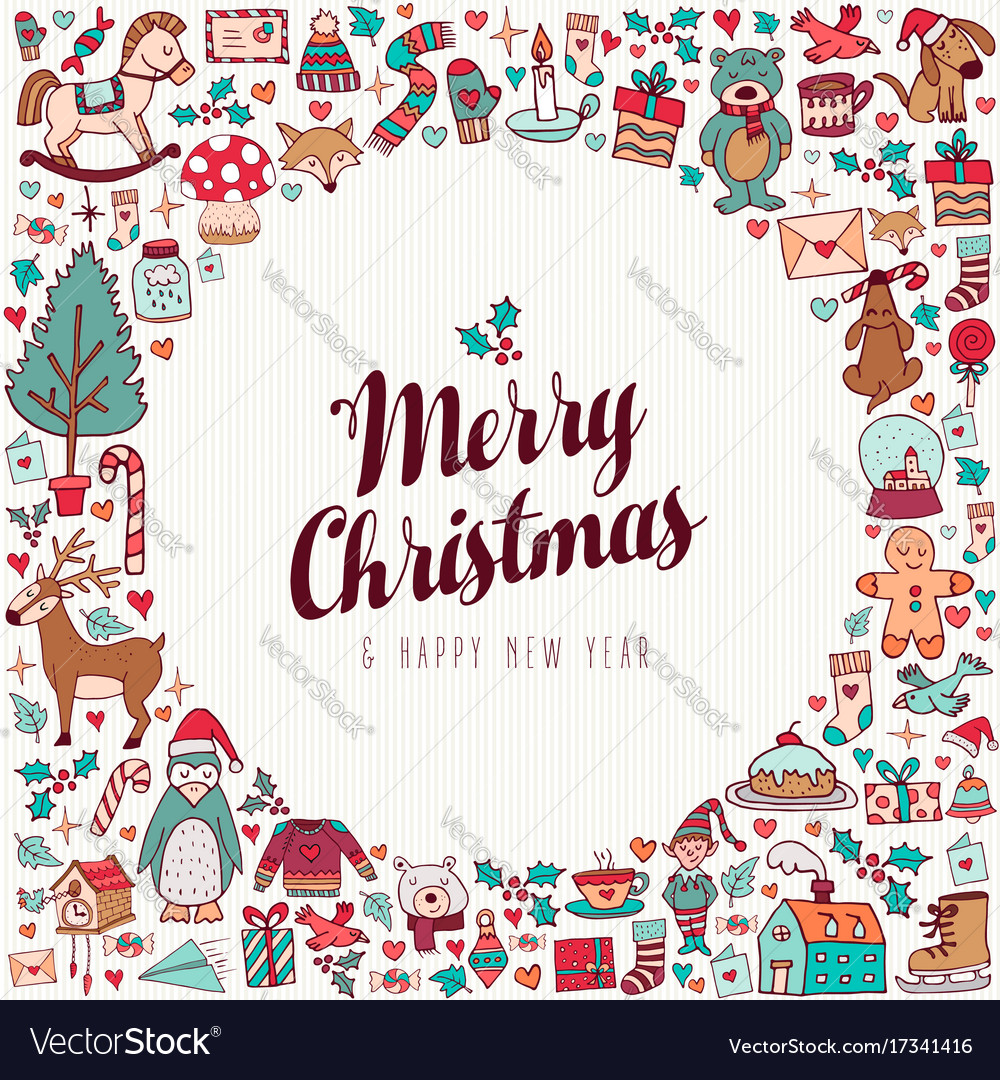 Christmas and new year hand drawn cute holiday art vector image