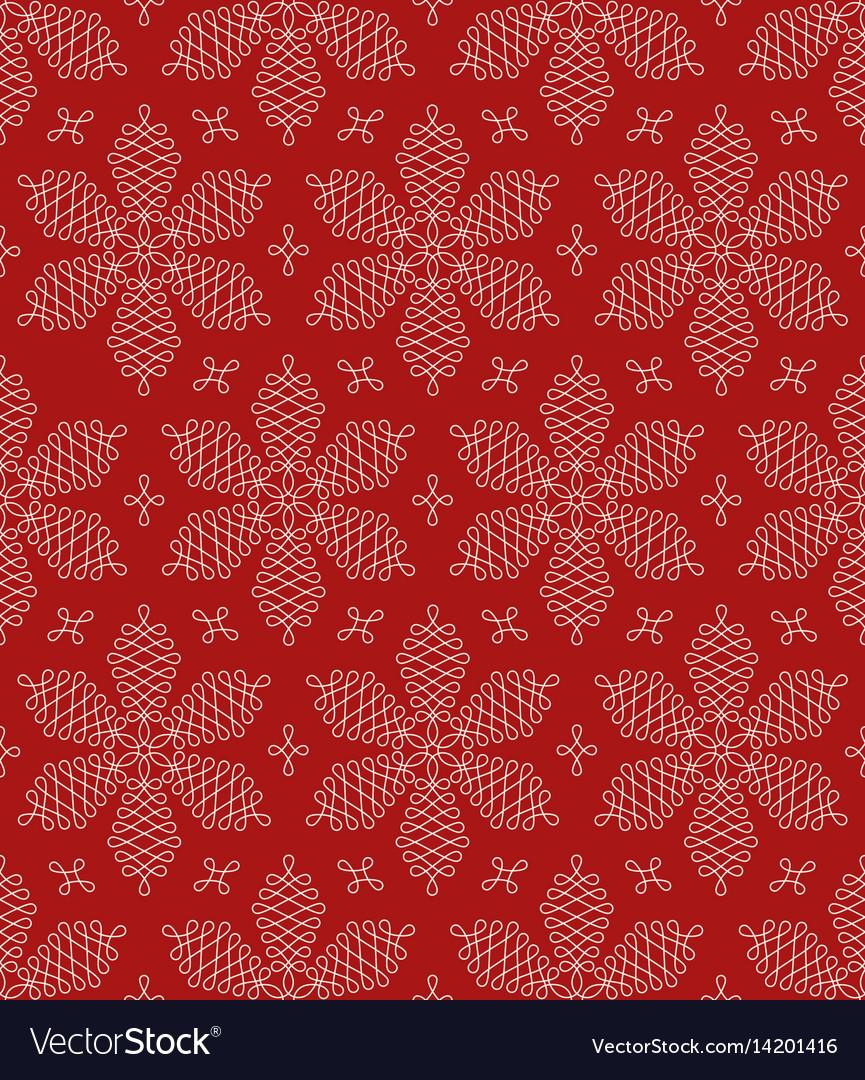 Flourish snowflakes seamless pattern