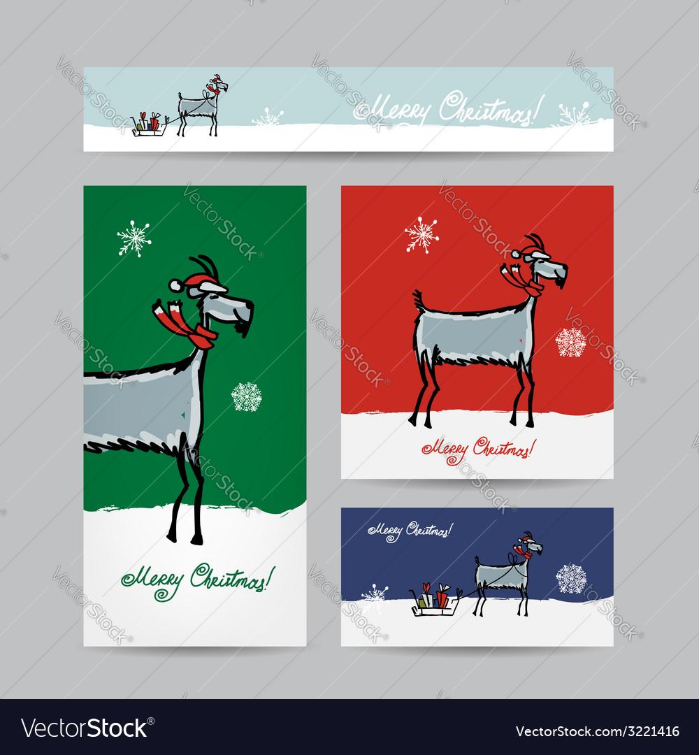 Funny goat santa Christmas cards design Royalty Free Vector