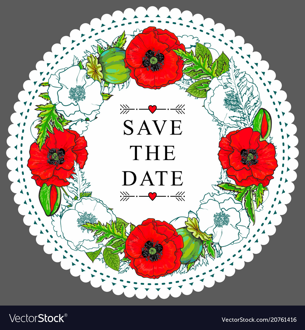 Hand drawn poppy save the date circle frame
