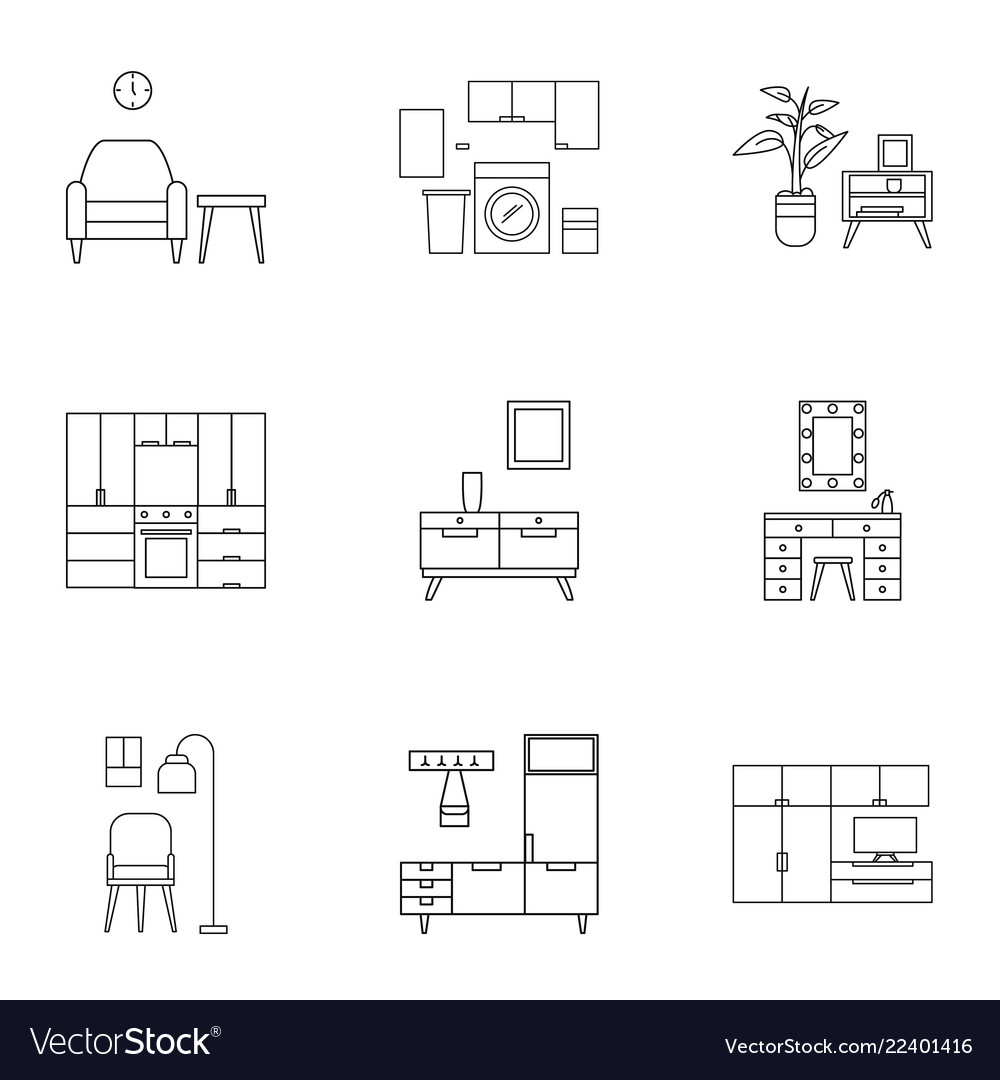 Home furniture icon set outline style