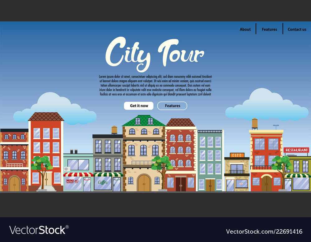Landing page design downtown with flat style